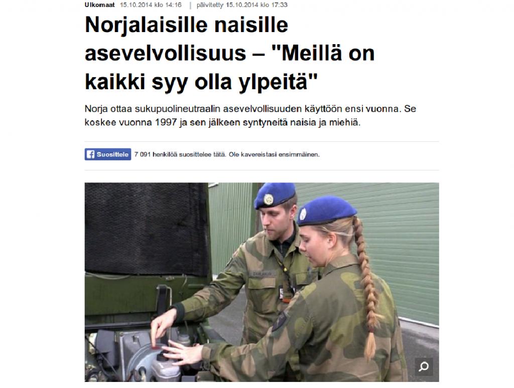 Norjalaisille naisille asevelvollisuus